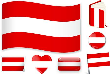 Austrian national flag vector illustration in different shapes. Standard-Bild - 125880578