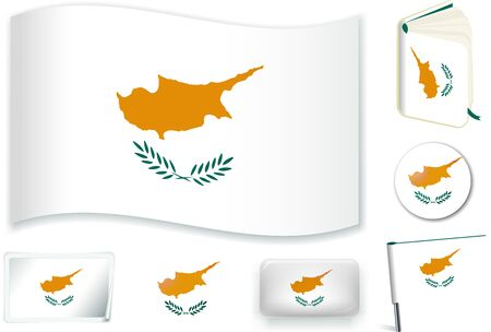 Cypriot national flag vector illustration in different shapes.