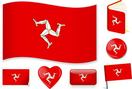 Isle of Man flag vector illustration in different shapes.