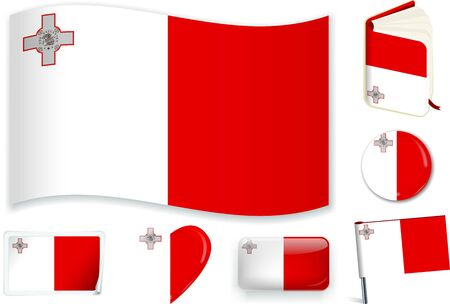 Malta. Maltese national flag in wave, book, circle, pin, button heart and sticker shapes