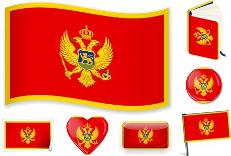 Montenegrin national flag vector illustration in different shapes. Ilustracja
