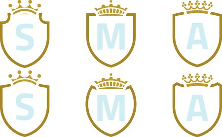 Set of six shield and crown luxury icons. Foto de archivo - 128638527