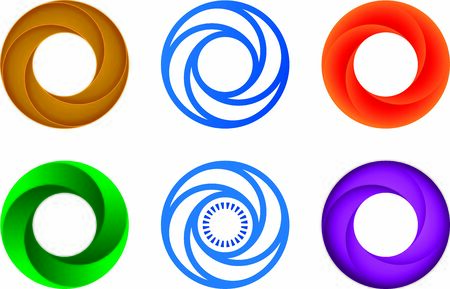 Six circular set icon. Geometric, simple and flat. Foto de archivo - 128638531