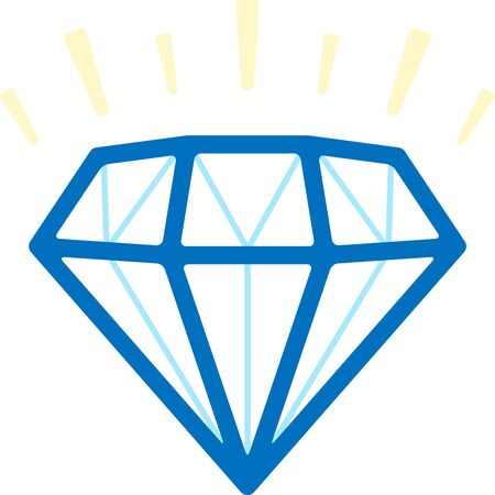 Simple diamond gem icon in blue tones. Flat and clean. Foto de archivo - 128638535