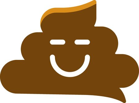 Simple smiling poo icon in flat and geometric style.