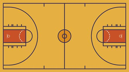 Vector illustration. Frontal view of basket or basketball field. Geometric and flat.