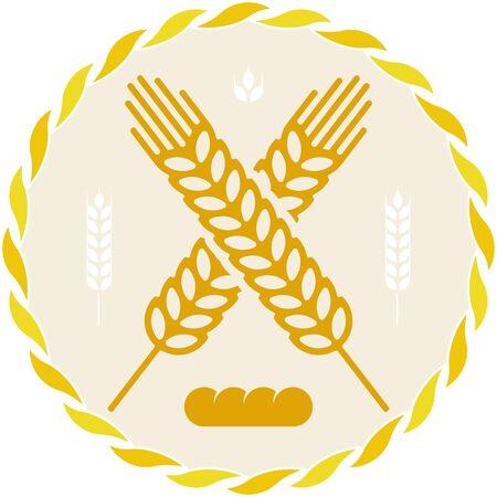 Bread icon with wheat grain spike in geometric style. Foto de archivo - 128638642