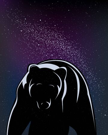 Walking bear isolated in black in a starry night. Foto de archivo - 128638649
