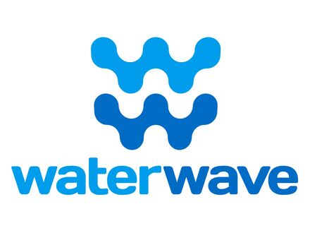 Water wave sign or symbol in blue tones. Isolated. Foto de archivo - 128638750