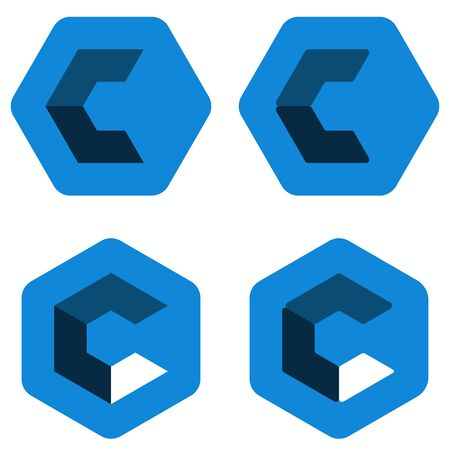 Hexagon c  in different positions. Three dimensional.