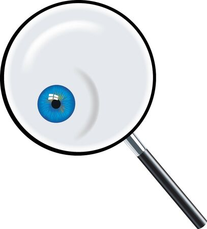Glass magnifier icon with interior open blue eye.