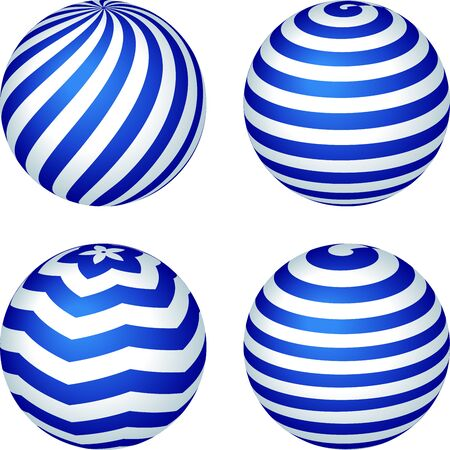 Set of four stripped balls in blue and three dimensions. Foto de archivo - 128638793