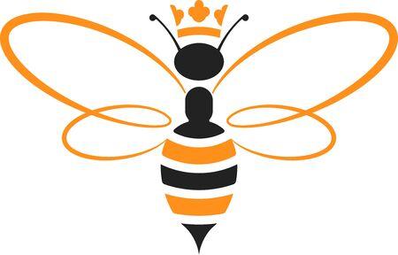 Icona dell'ape regina con corona in giallo e nero. Isolato e geometrico. Vettoriali