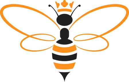 Queen bee icon with crown in yellow and black. Isolated and geometric.