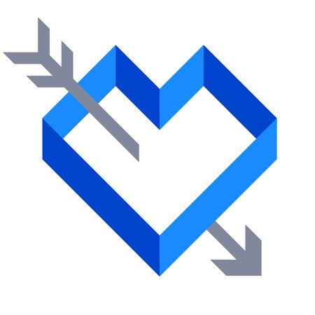 Flat icon of geometric blue heart shape and arrow. Foto de archivo - 128639081