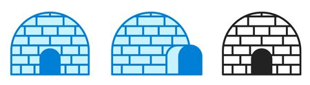 Vector illustration. Ice house igloo. Icon set. Vector simple design. Igloo sign or symbol in flat style.