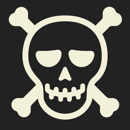 Smiling skull. Simple pirate icon with head shape and bones. Foto de archivo - 128639087