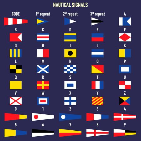International maritime signal flags. Letters and numbers. Foto de archivo - 128639099