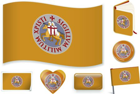 Templar flag in wave, book, circle, pin, button, heart and sticker shapes. Vecteurs