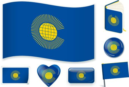 Commonwealth flag. Vector illustration 3 layers. Shadows, flat flag, lights and shadows.