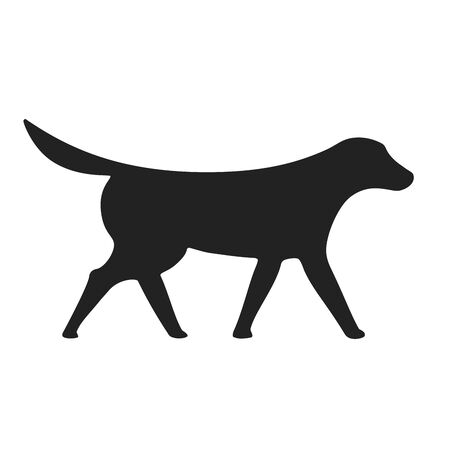 Pointer dog silhouette in black isolated. Simple icon. Ilustração