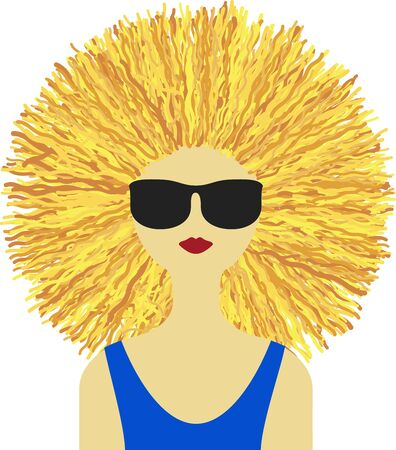 Beautiful woman in summer with sunglasses and blonde mane. Illustration