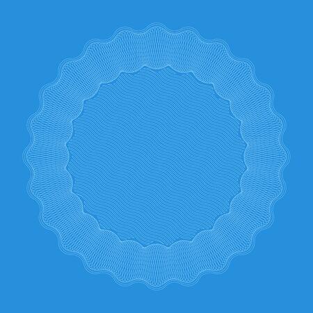 Guilloche seal in blue tones with copy space. Foto de archivo - 128639342