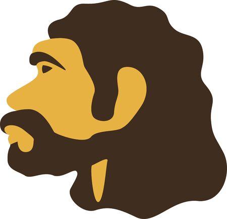 Simple caveman head icon. Neardenthal or cro-magnon prehistoric man.