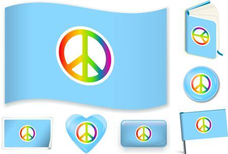 Peace flag. Vector illustration 3 layers. Shadows, flat flag, lights and shadows. Иллюстрация