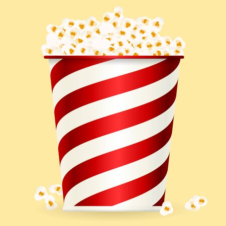 Popcorn box in shiny style. Corn snack for fun. Foto de archivo - 128639362