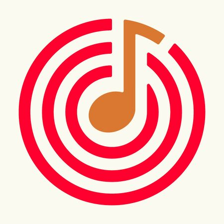 Musical target icon in plan, flat and geometrical style.