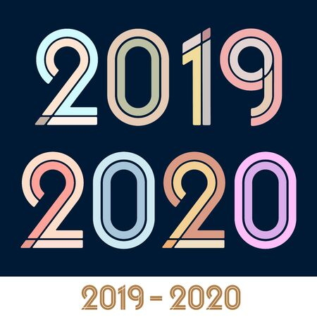 Vector illustration. Year 2019 2020 text font class graduation. Flat and plain. Иллюстрация