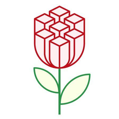 Urban flower concept. Block building as nature construction.