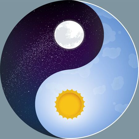 Nature yin yang with sun and moon. Night and day.