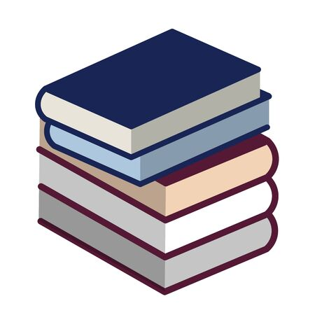 Book pile icon in flat and geometric style. Isolated.