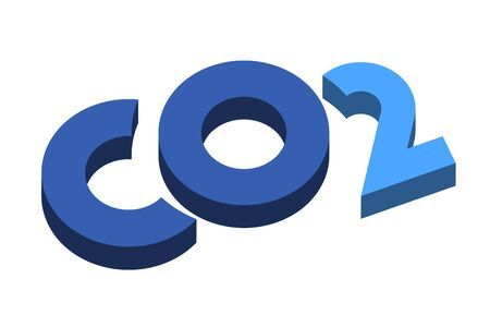 Carbon dioxide symbol in 3d effect. Isolated.