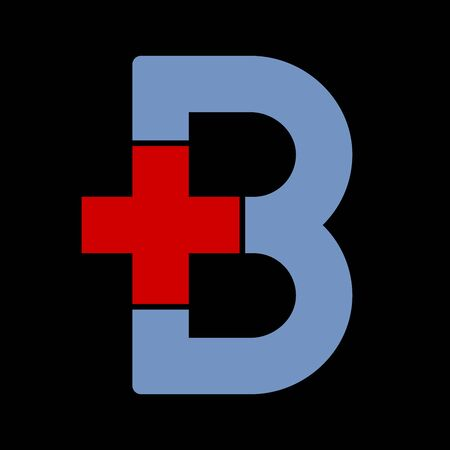 Letter b with plus symbol. Flat and isolated.