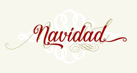 Christmas text in spanish with flourishes. Isolated. Vector illustration. Banque d'images - 137677955