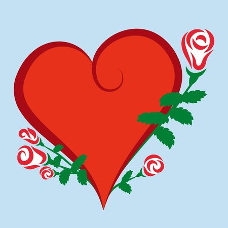 Red heart icon with roses. Vector illustration. Symbol