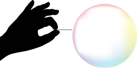 Vector illustration. Bubble explosion. Silhouette hand exploding a soap bubble. Stock Illustratie