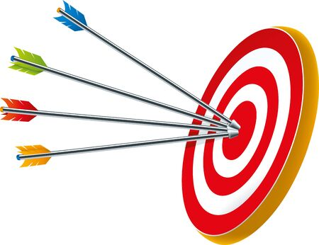 Vector illustration. Bullseye target with several arrows in its center.