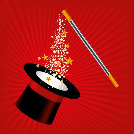 Vector illustration. Magic hat and wand with stars in red and balck.