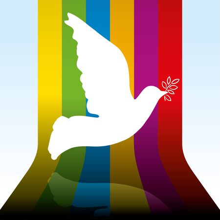 Vector illustration. Peace dove flying over 3D rainbow background.