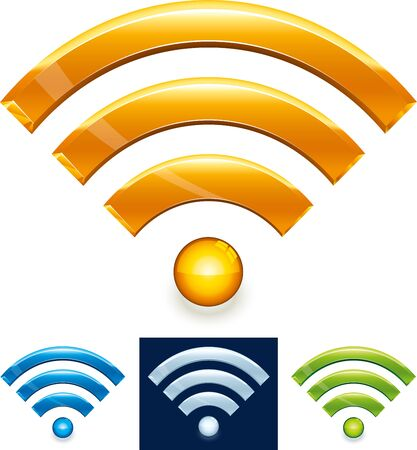 Vector illustration. Wireless technology icon in shiny style. Four colors. Wifi symbol isolated.