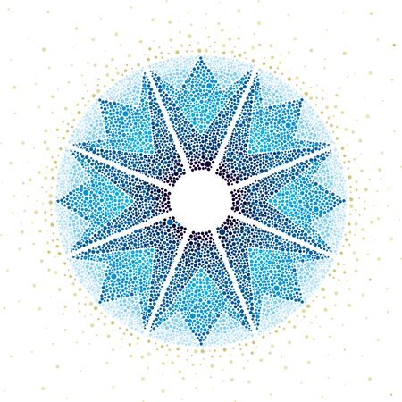 Vector illustration. Star made of dots. Background textured element.
