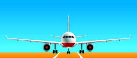 Vector illustration. Realistic front view of landing airplane on airport pista.  イラスト・ベクター素材