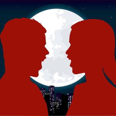 Vector illustration. Couple discussing over a full moon. Flat characters.