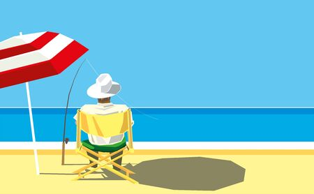 Vector illustration. Resting man fishing quietly on the summer beach.