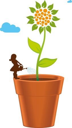 Vector illustration. Growing up concept. Gigantic plant on pot drawing.