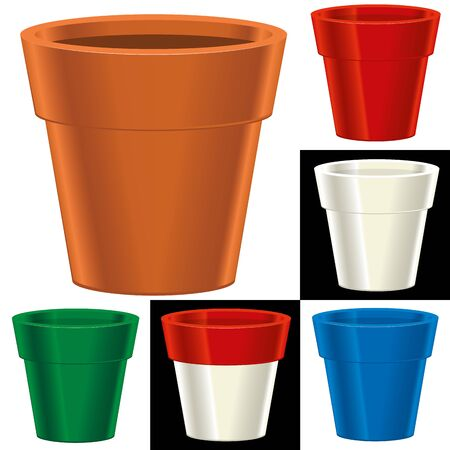 Vector illustration. Flower pot in six different colors. Clean and isolated.  イラスト・ベクター素材